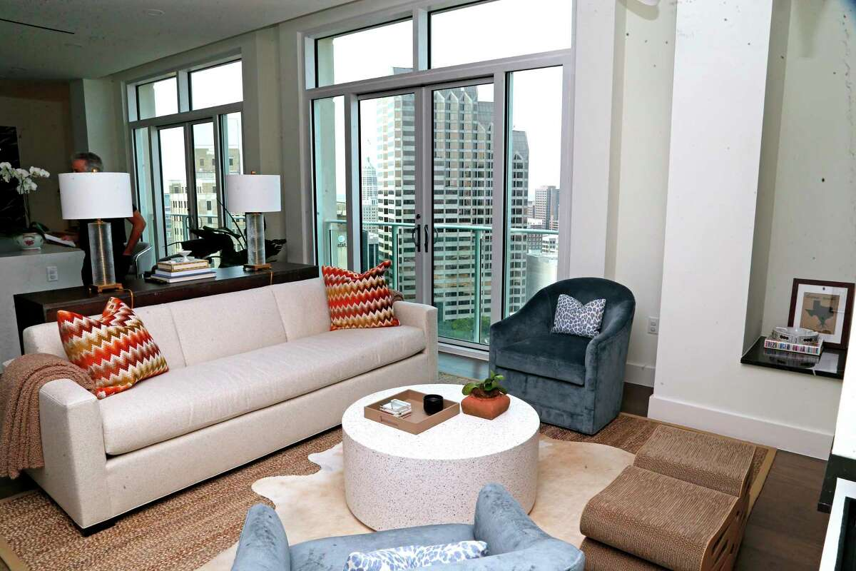 The view from the 16th floor of a two-bedroom, 2 ½-bath condominium in The Arts Residences in downtown San Antonio.