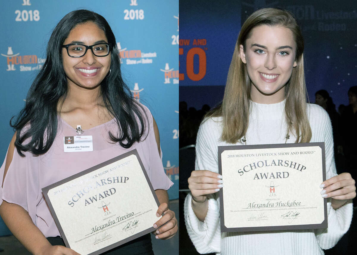 Humble High School student Alexandra Trevino and Kingwood High School student Alexandra Huckabee are among the recipients of Houston Livestock Show and Rodeo scholarships during the HLSR Scholarship Banquet on Wednesday, May 23.