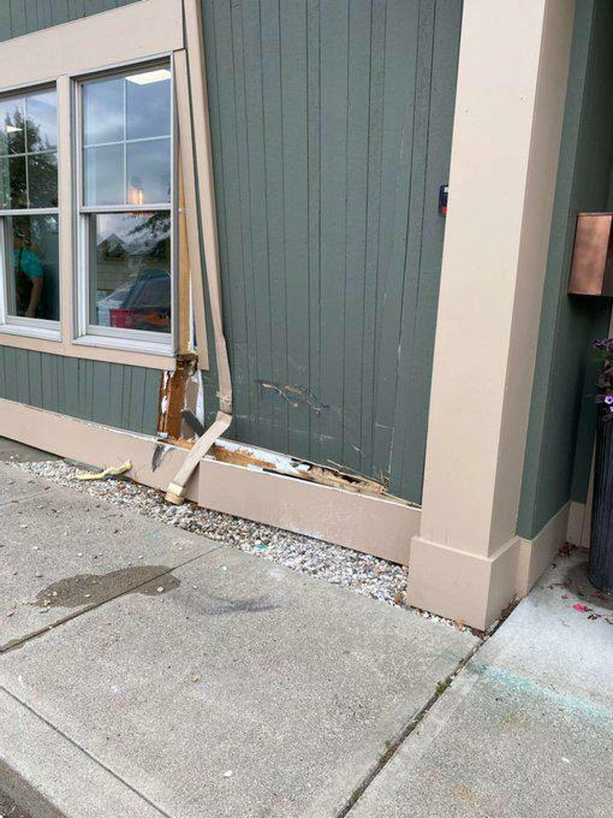Southbury Seafood Market storefront damaged by car crash