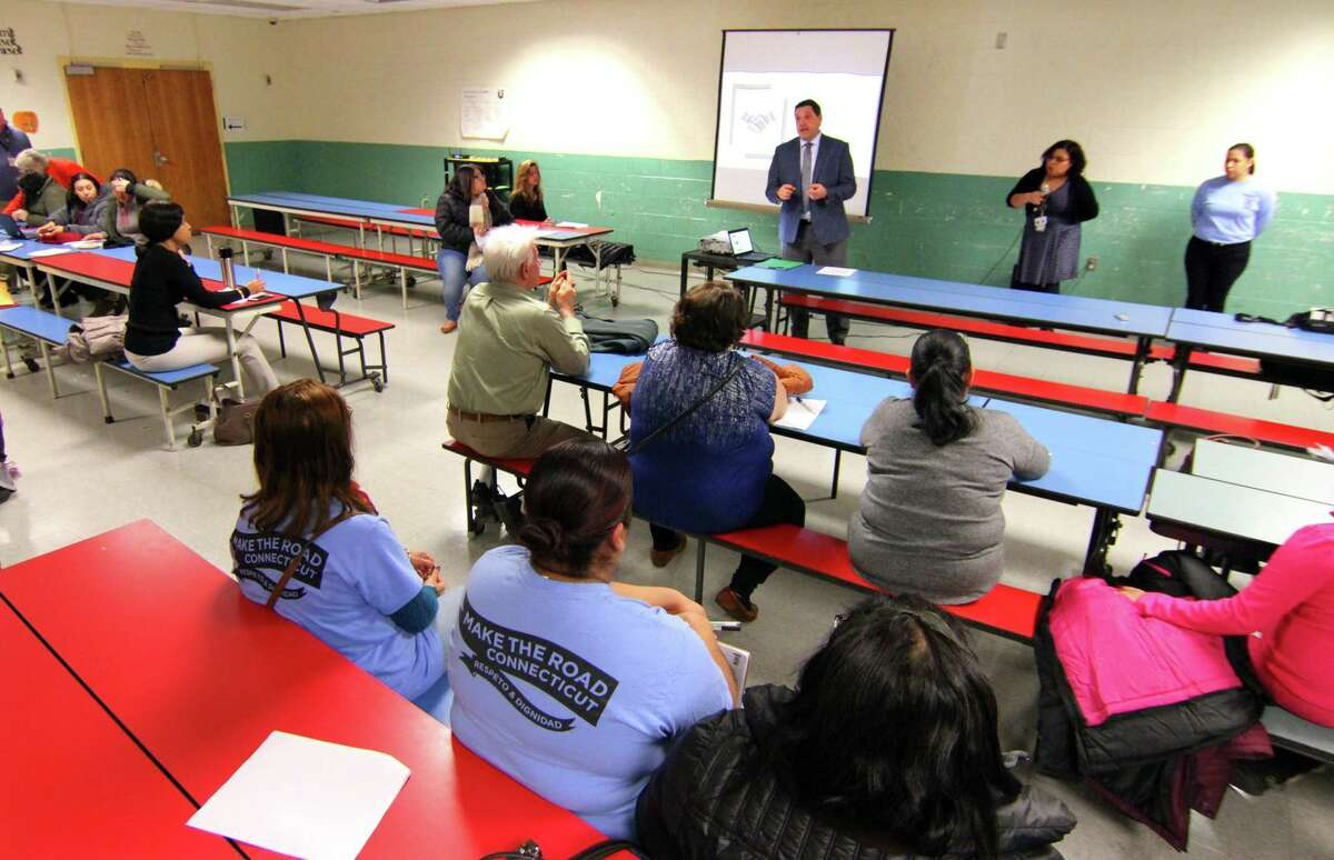 Acting Superintendent of Schools Michael Testani speaks at a Make the Road CT forum held to show Spanish speaking parents how to navigate the school system at Luis Marin School in Bridgeport, Conn., on Thursday Jan. 9, 2020.