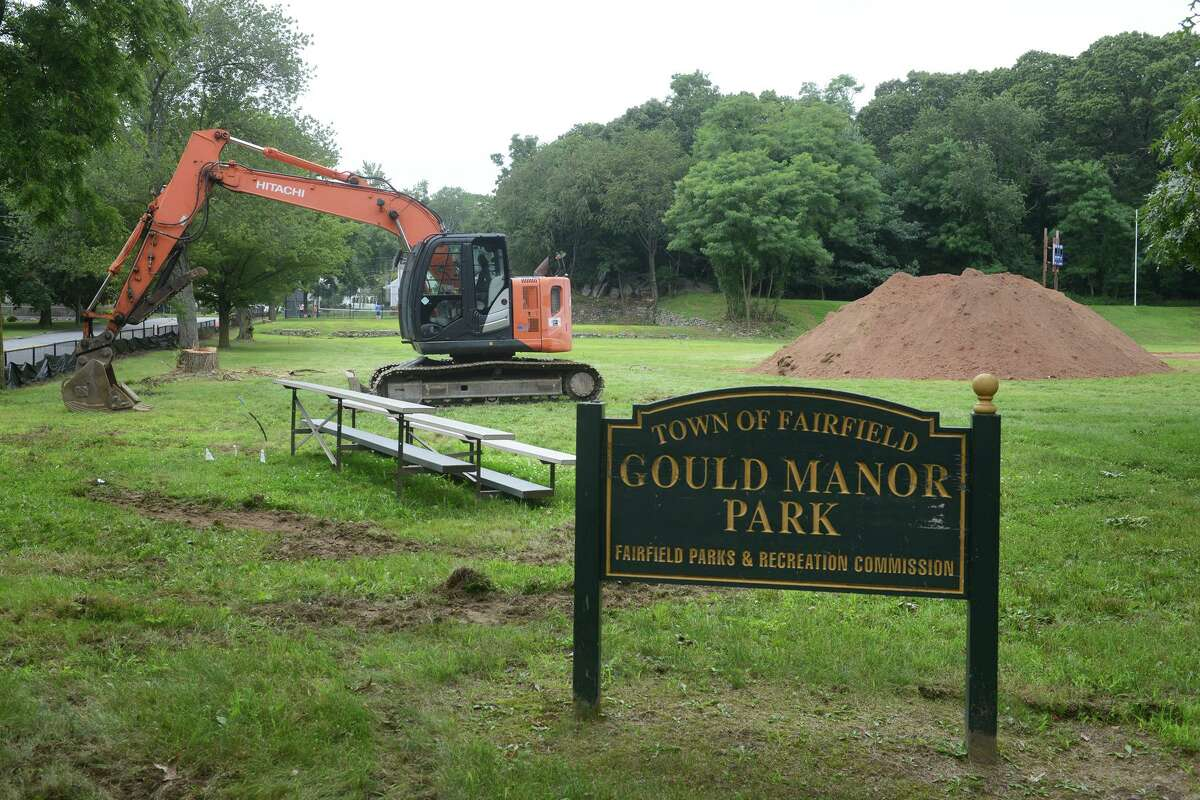 The remediation and improvement project is underway at Gould Manor Park, in Fairfield, Conn. Aug. 10, 2021.