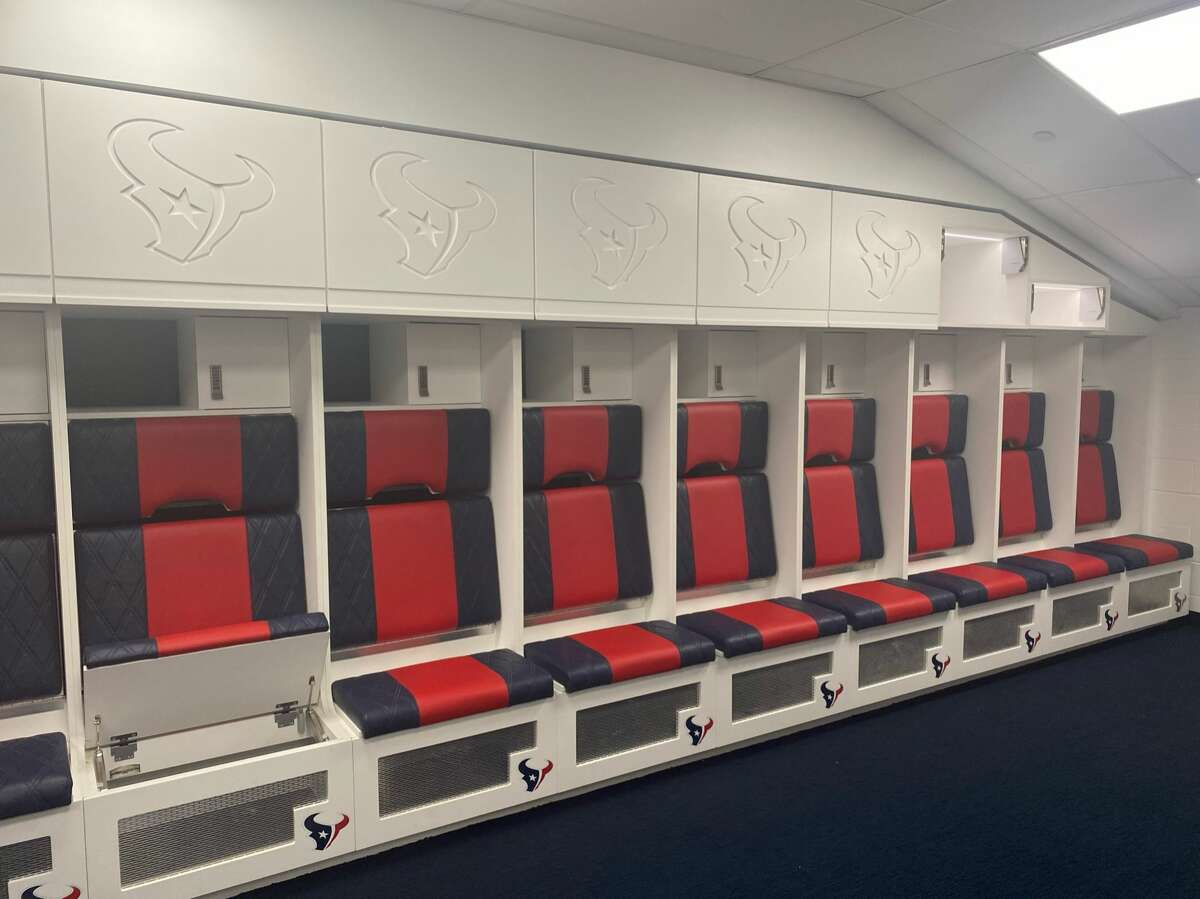 A look inside the Houston Texans' renovated locker room at NRG Stadium. The renovation was completed in time for 2021 training camp.
