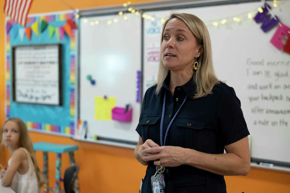 Kameron Wilder, principal of Eddie Ruth Lagway Elementary, speaks to a classroom during the first day of school at Eddie Ruth Lagway Elementary, Wednesday, Aug. 11, 2021, in Conroe. Wilder has worked in education for an estimated 24 years and has been with Willis for 22 of those years.