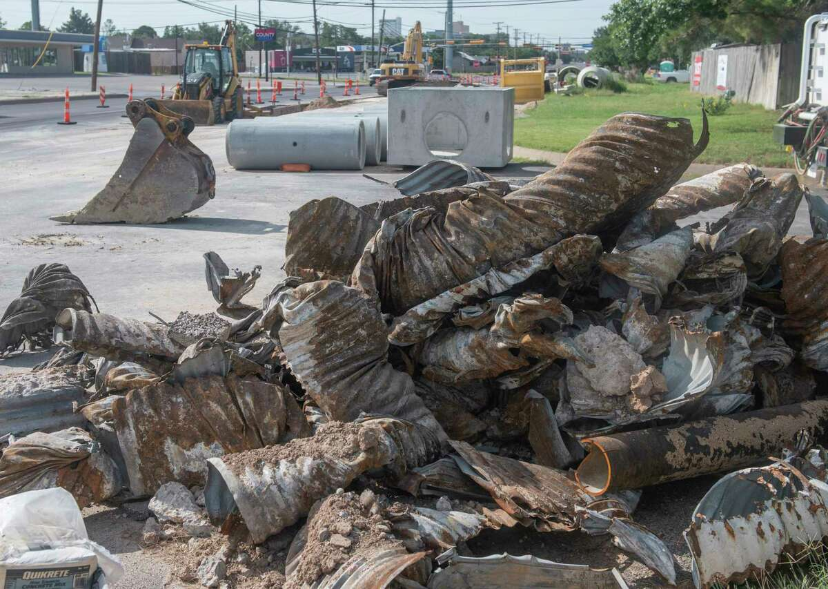 """Work continues this month of water and sewer line replacement along """"A"""" Street with the corner of """"A"""" and Stanolind blocked with old and new equipment. Work closer to downtown on """"A"""" Street should be completed in October, according to the city. Tim Fischer/Reporter-Telegram"""