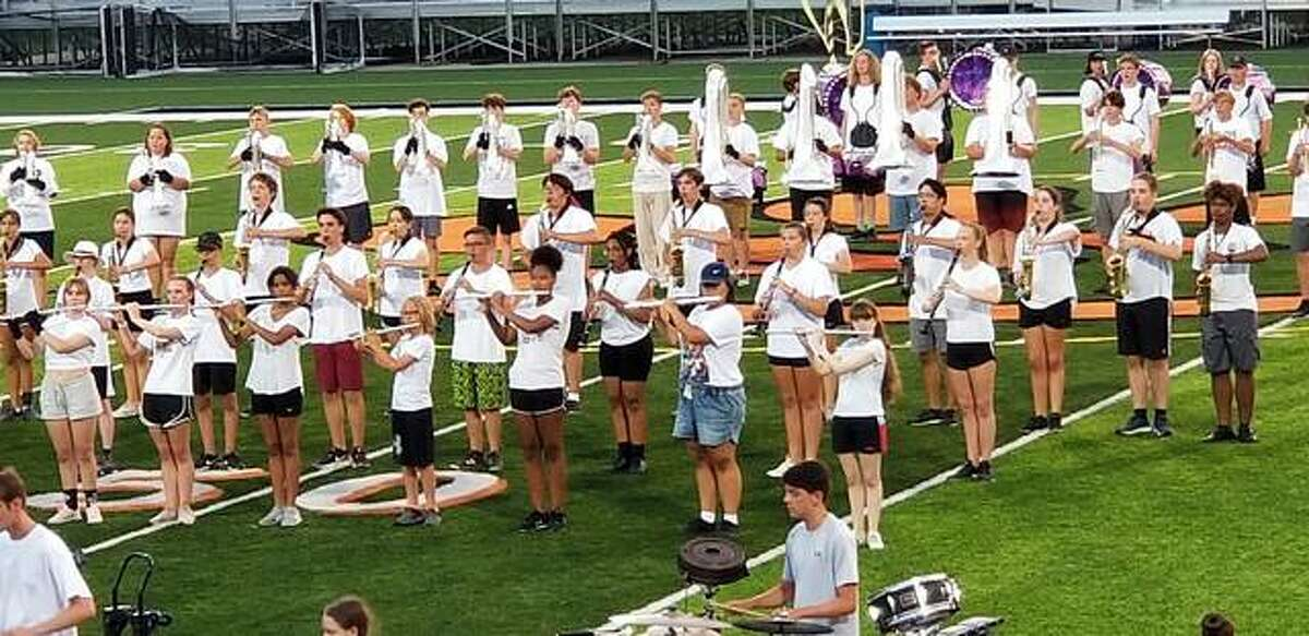 Edwardsville High School marching band held a public performance on Friday on the school's football field.