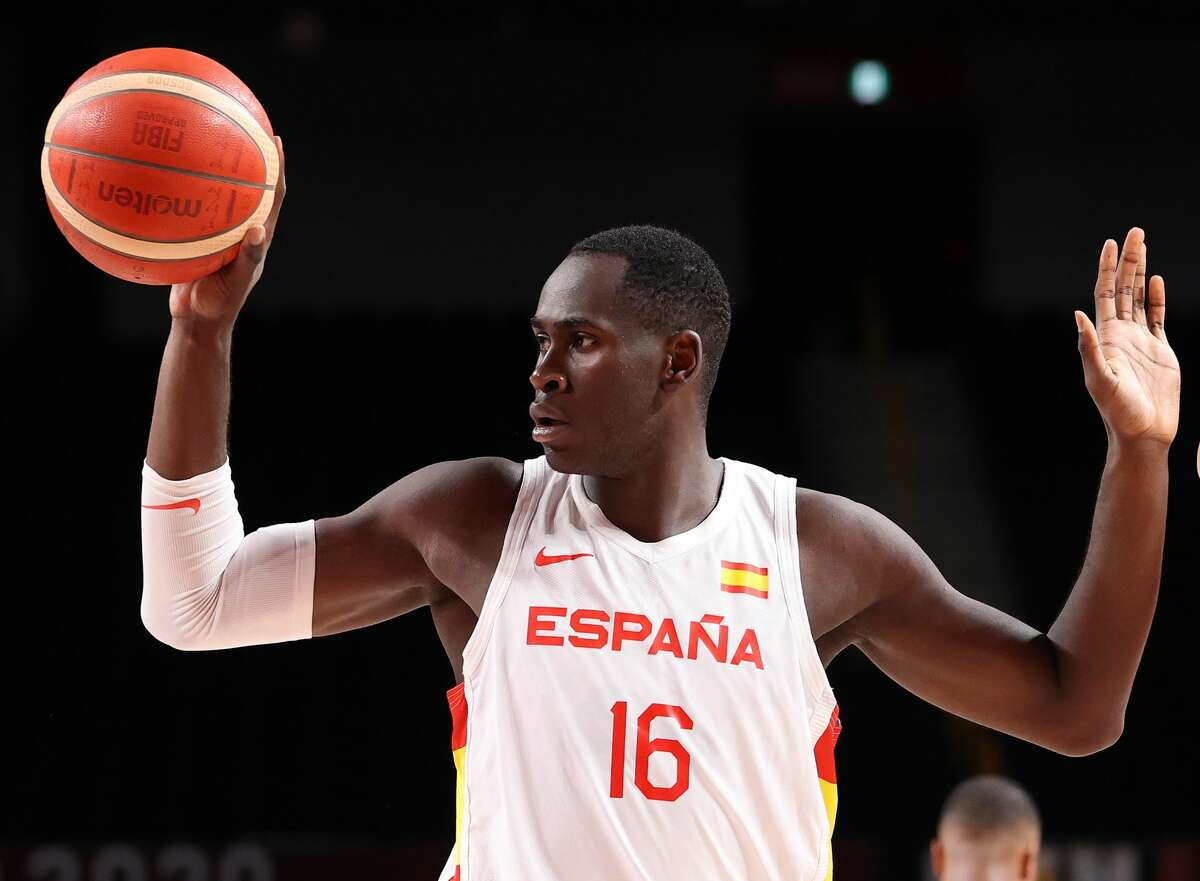 Usman Garuba #16 of Team Spain reacts against Team United States during the second half of a Men's Basketball Quarterfinal game on day eleven of the Tokyo 2020 Olympic Games at Saitama Super Arena on August 3, 2021 in Saitama, Japan.