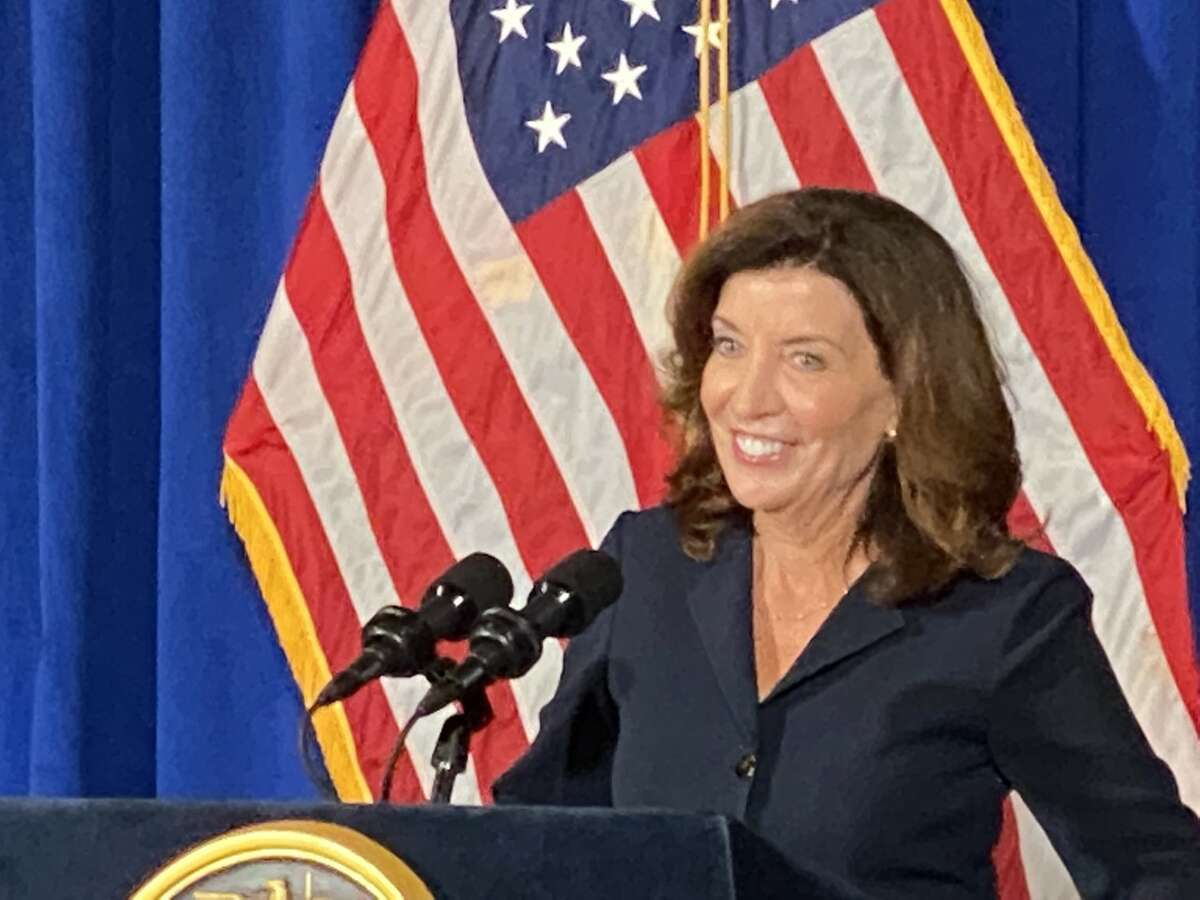 Lt. Gov. Kathy Hochulbegins her first news conference since Gov. Andrew M. Cuomo announced Tuesday that he would resigned. Hochulspoke to reporters in Albany.