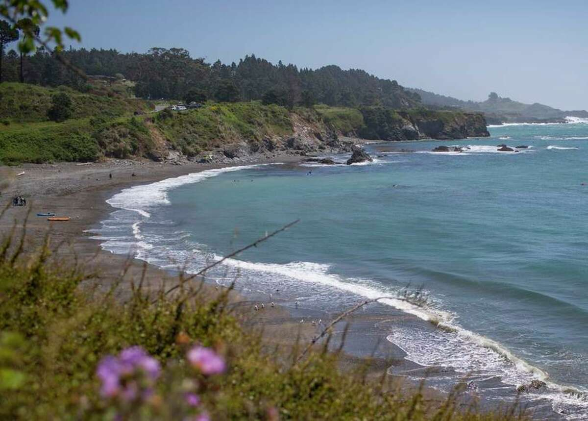 Abalone divers swim off the shore of Van Damme Beach in Mendocino. Mendocino is a picturesque seaside village in Northern California that's perfect for weekend getaways