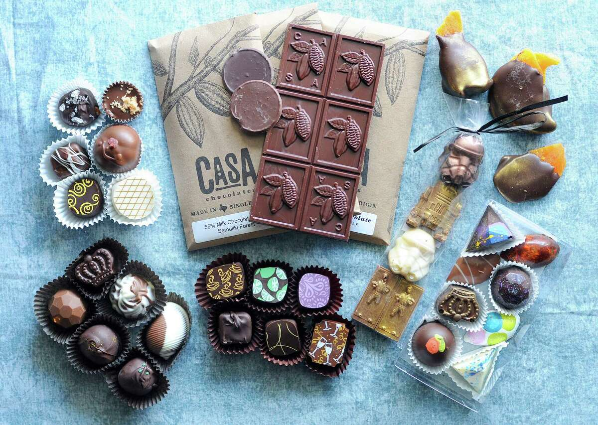 A selection of chocolates from San Antonio-area chocolate shops. Clockwise from top left: Schakolad Chocolate Factory, Casa Chocolates, Chocollazo, Alamo City Chocolate Factory and Délice Chocolatier & Patisserie.