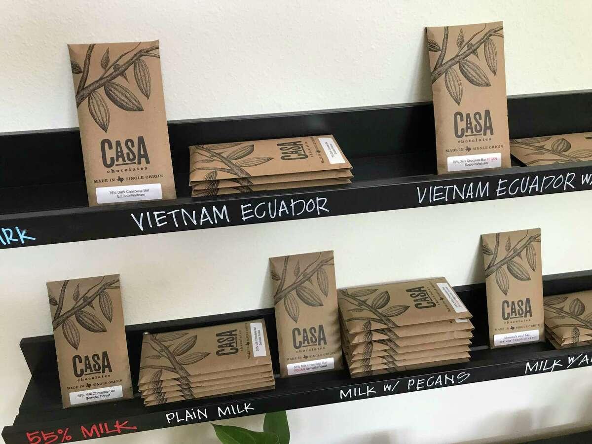 A selection of chocolate bars at Casa Chocolates