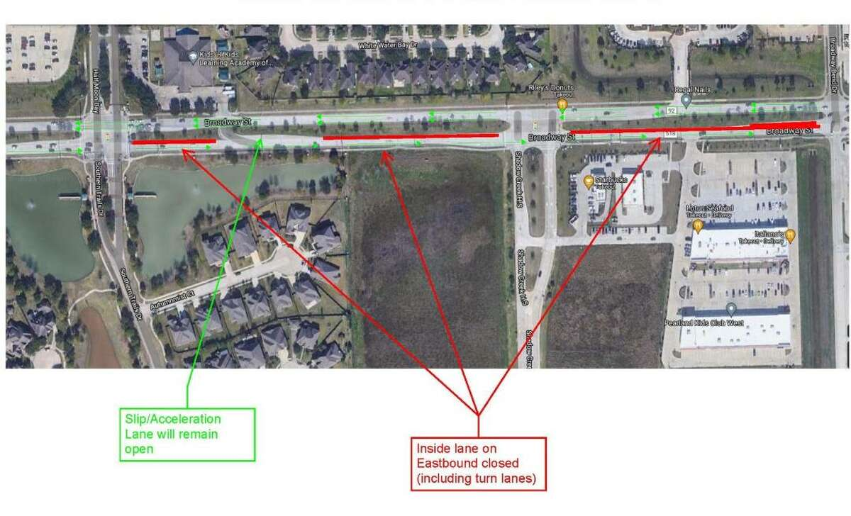 Installation of fiber optic communications line will narrow eastbound segments of Broadway Street between Kirby Drive and FM 521 through Aug. 30.