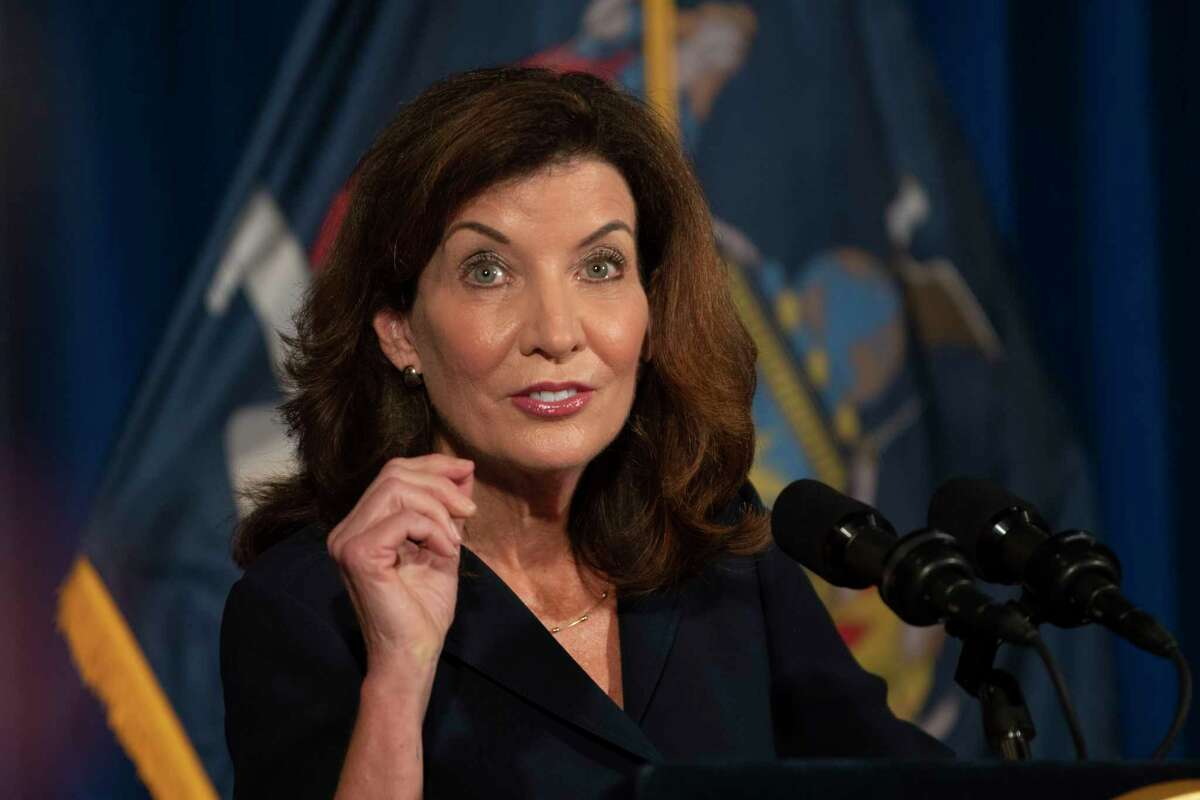 Lt. Governor Kathy Hochul addresses the people of New York during a press conference at the New York State Capitol on Wednesday, Aug. 11, 2021 in Albany, N.Y. She appeared on CNN and CBS Sunday Aug. Aug. 15, 2021 to answer questions for national media abou ther taking over as New York's governor.