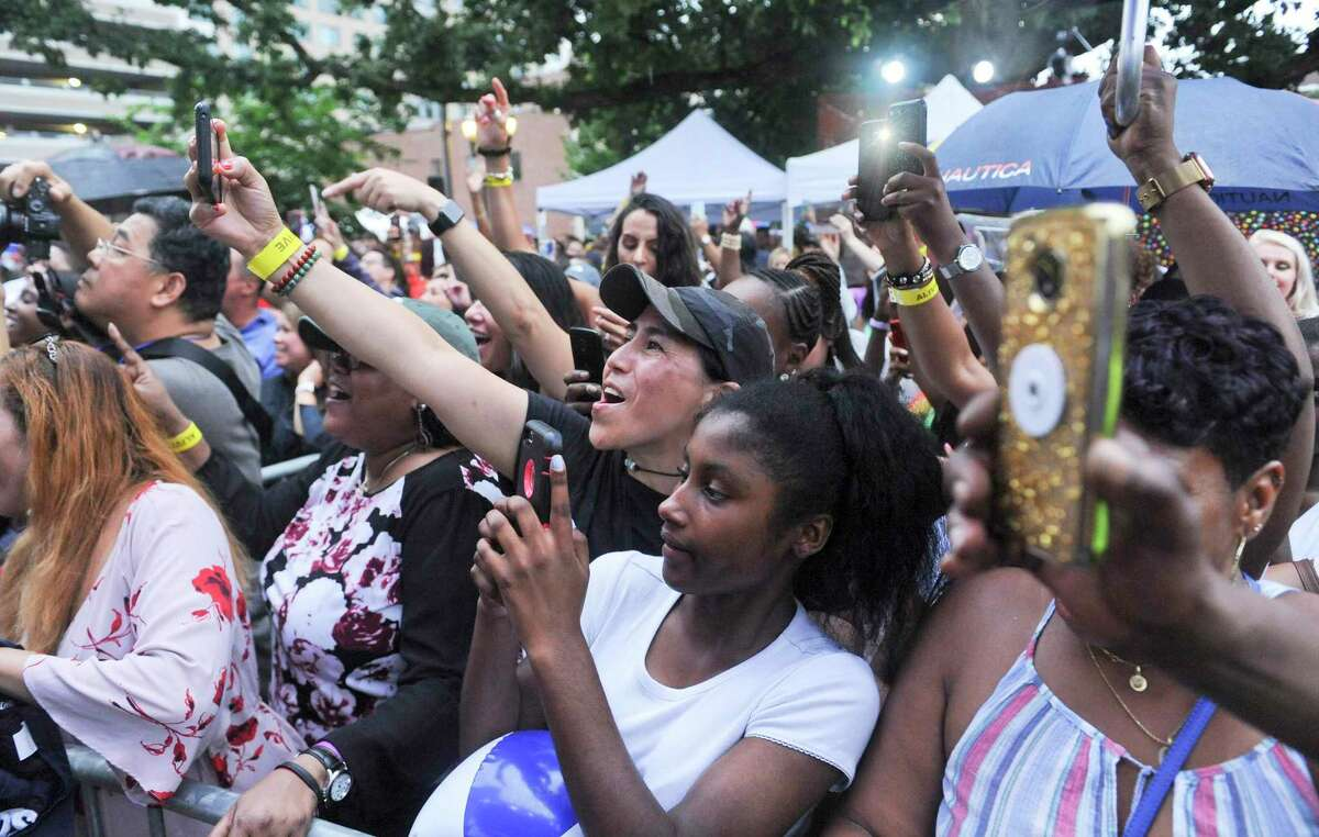 Music fans packed into Stamford's Columbus Park for the annual Alive@Five summer concert series in Stamford, Conn. on July 11, 2019.
