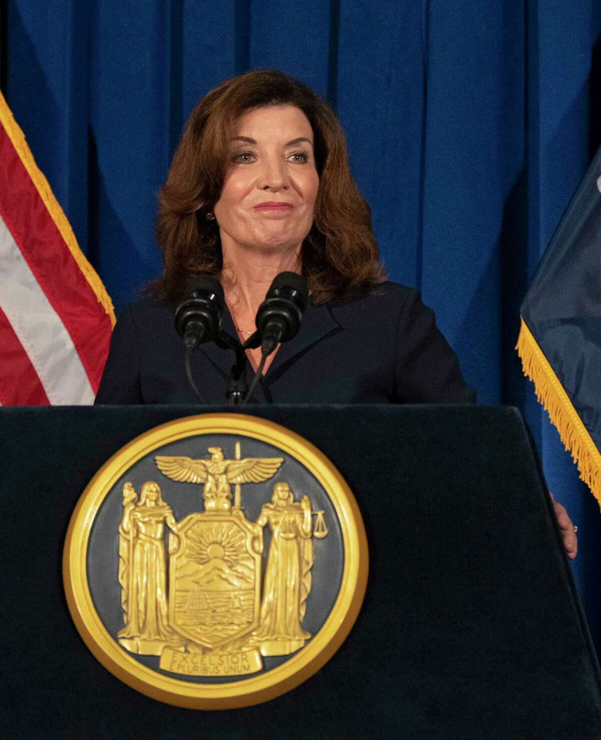 A federal lawsuit notes Gov. Kathy Hochul has credited God for creation of COVID-19 vaccines while her administration has fought against issuing religious exemptions for health care workers who do not want to get vaccinated.