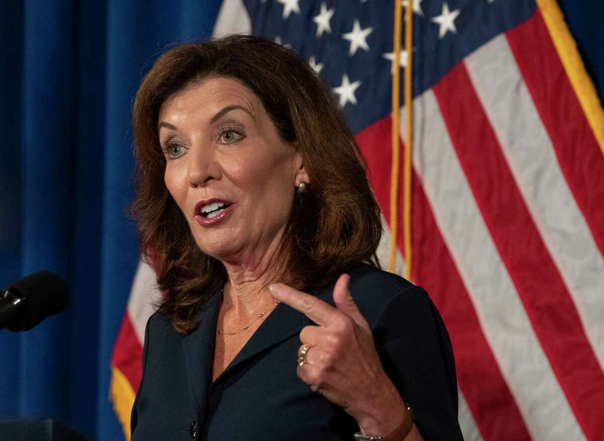 Lt. Governor Kathy Hochul addresses the people of New York during a press conference at the New York State Capitol on Wednesday, Aug. 11, 2021 in Albany, N.Y.
