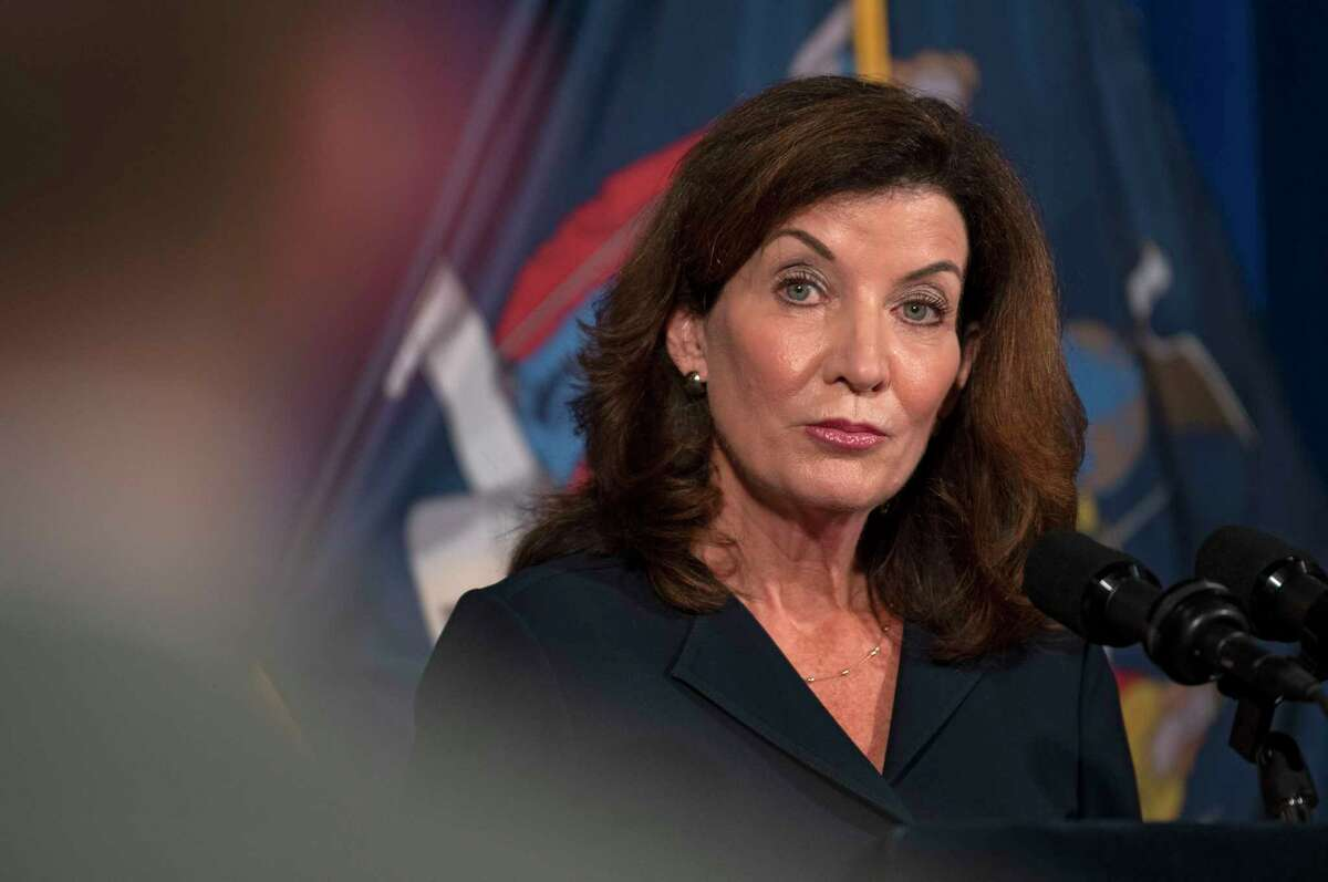 Gov. Kathy Hochul addresses the people of New York during a press conference at the New York State Capitol on Wednesday, Aug. 11, 2021 in Albany, N.Y.