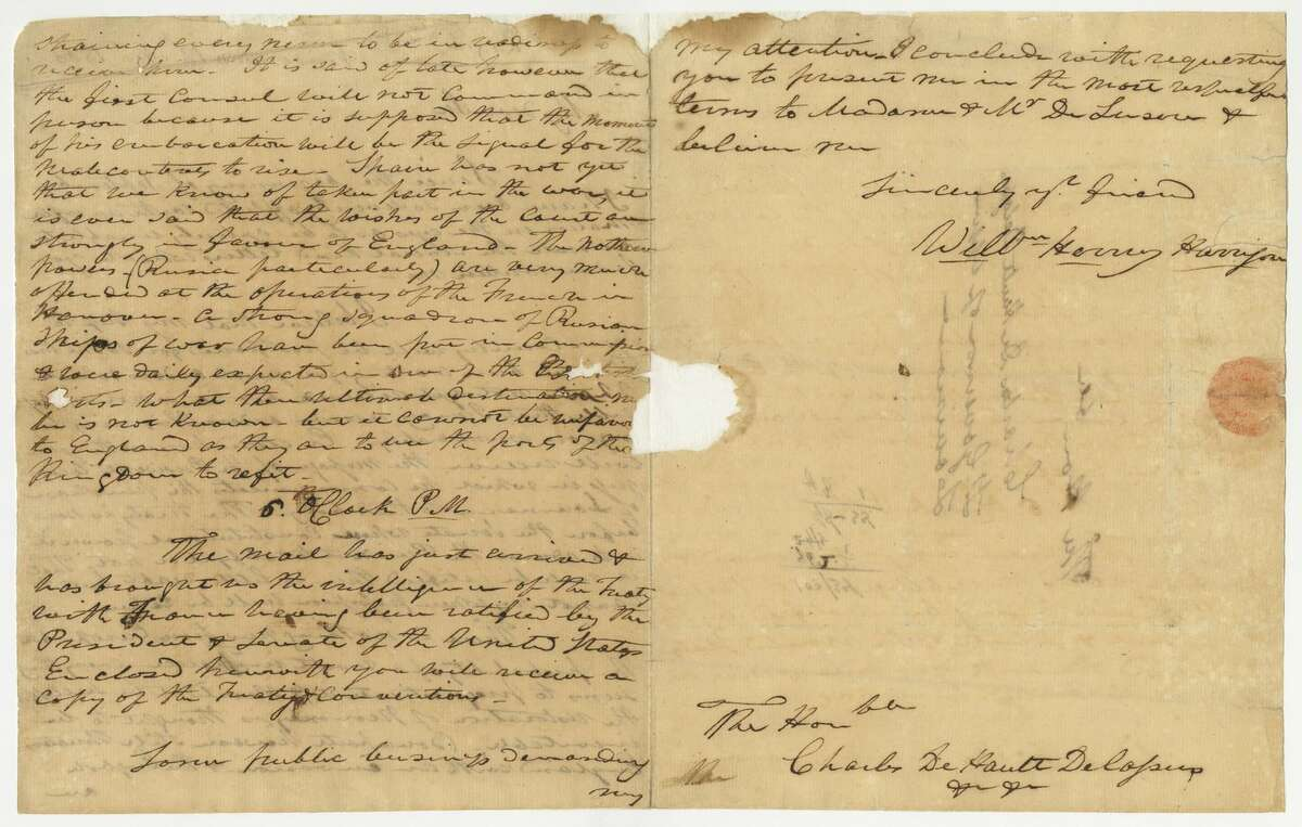 A correspondence from future President William Henry Harrison confirming the Louisiana Purchase is now part of the Missouri Historical Society collection.