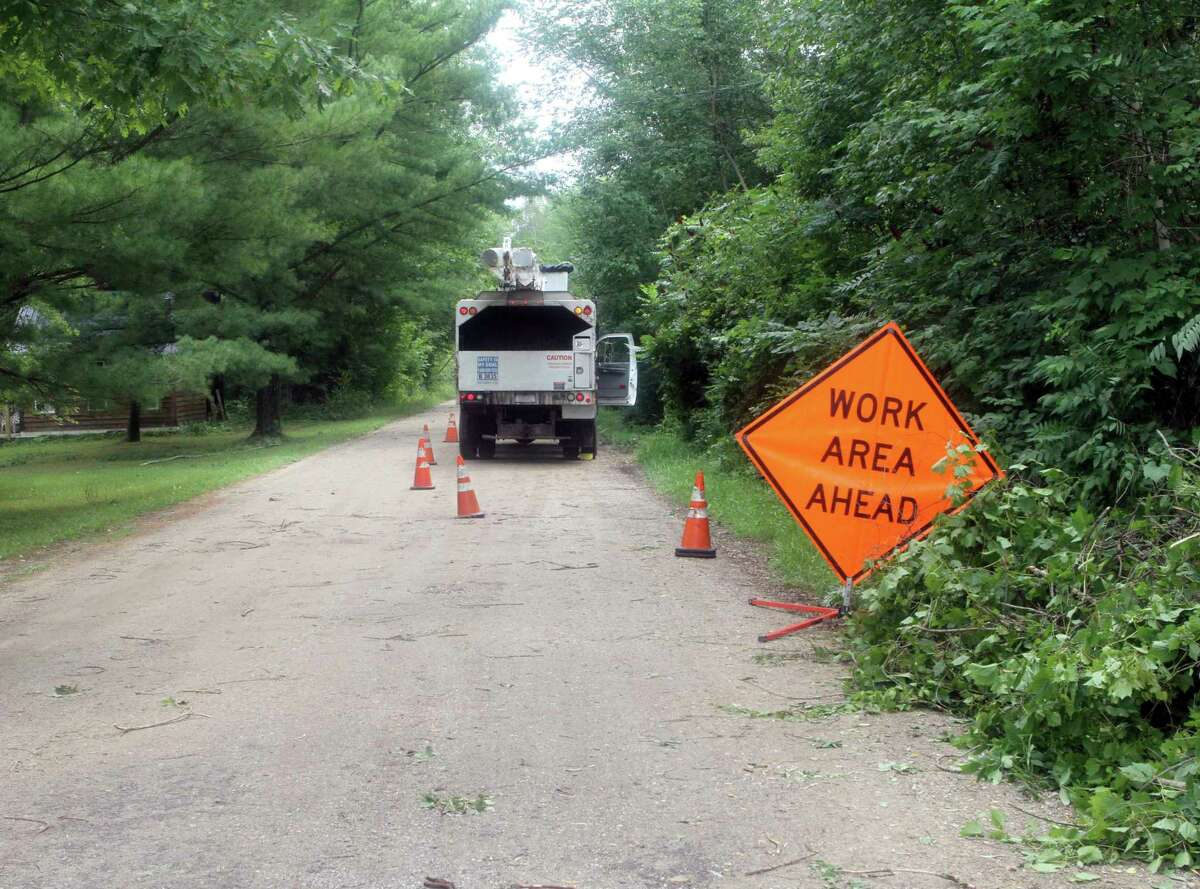A work truck was spotted on 70th Avenue in Mecosta on Wednesday to help with some downed branches. (Pioneer photo/Joe Judd)