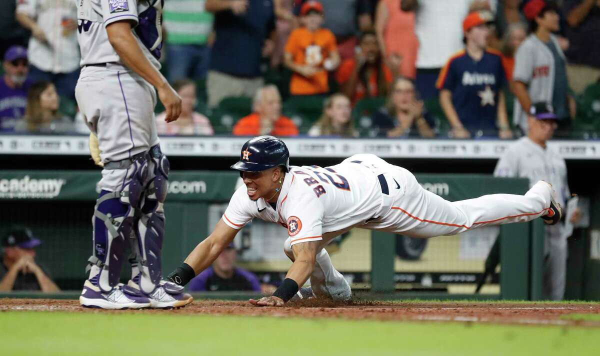 Michael Brantley doesn't care about numbers, just wins and losses. On Wednesday, he was a big reason why the Astros finished a sweep of the Rockies.