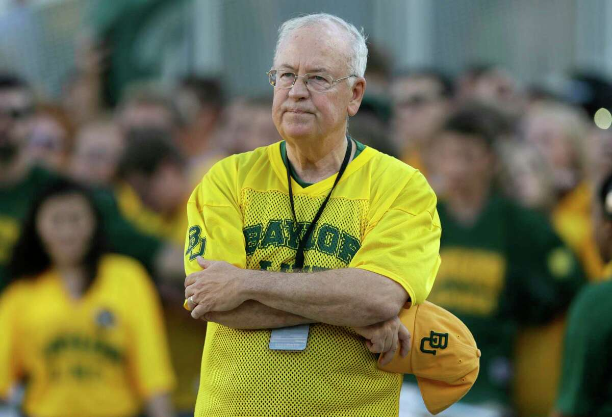 """The NCAA infractions committee said Wednesday that its years-long investigation into the Baylor sexual assault scandal would result in four years probation and other sanctions, though the """"unacceptable"""" behavior at the heart of the case did not violate NCAA rules. The NCAA ruling came more than five years after the scandal broke at the world's largest Baptist university, leading to the firing of successful football coach Art Briles, and the later departures of athletic director Ian McCaw and school president Ken Starr, shown at Baylor game in 2015."""