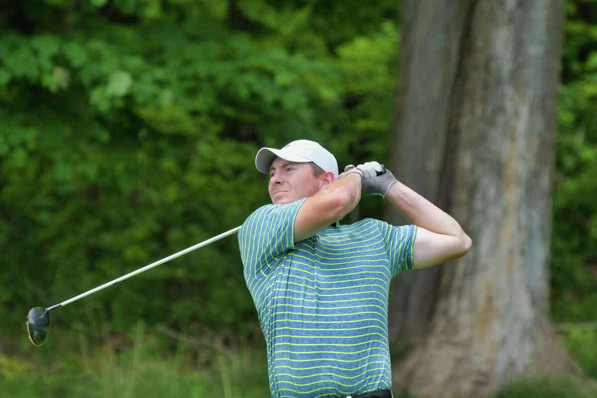 Kyle Downey of Locust Hill Country Club tees off during the second round of the New York State Golf Association 98th Men's Amateur championship at Schuyler Meadows Club on Wednesday, Aug. 11, 2021, in Loudonville, N.Y.