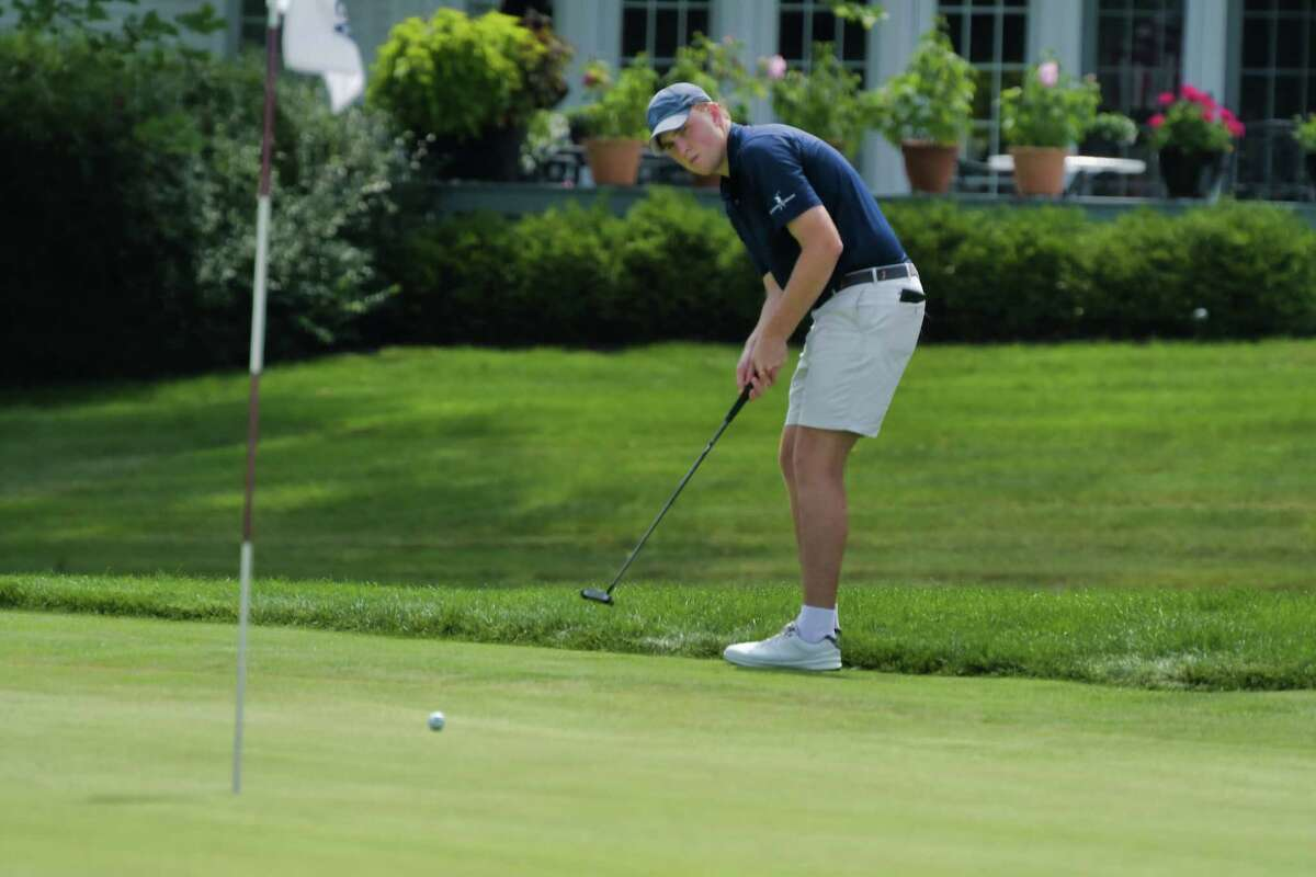 Sean Puleo of Schuyler Meadows Club putts on the first hole during the second round of the New York State Golf Association 98th Men's Amateur championship at Schuyler Meadows Club on Wednesday, Aug. 11, 2021, in Loudonville, N.Y.