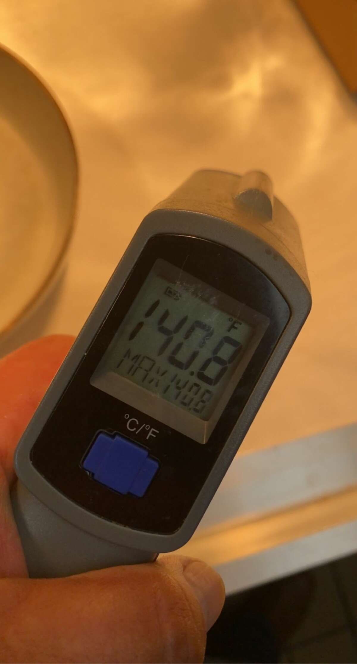 A thermometer shows the temperature in the kitchen in Yono's restaurant in Albany on Wednesday evening, Aug. 11, 2021. It is among the hottest the kitchen has ever been, the owners said.