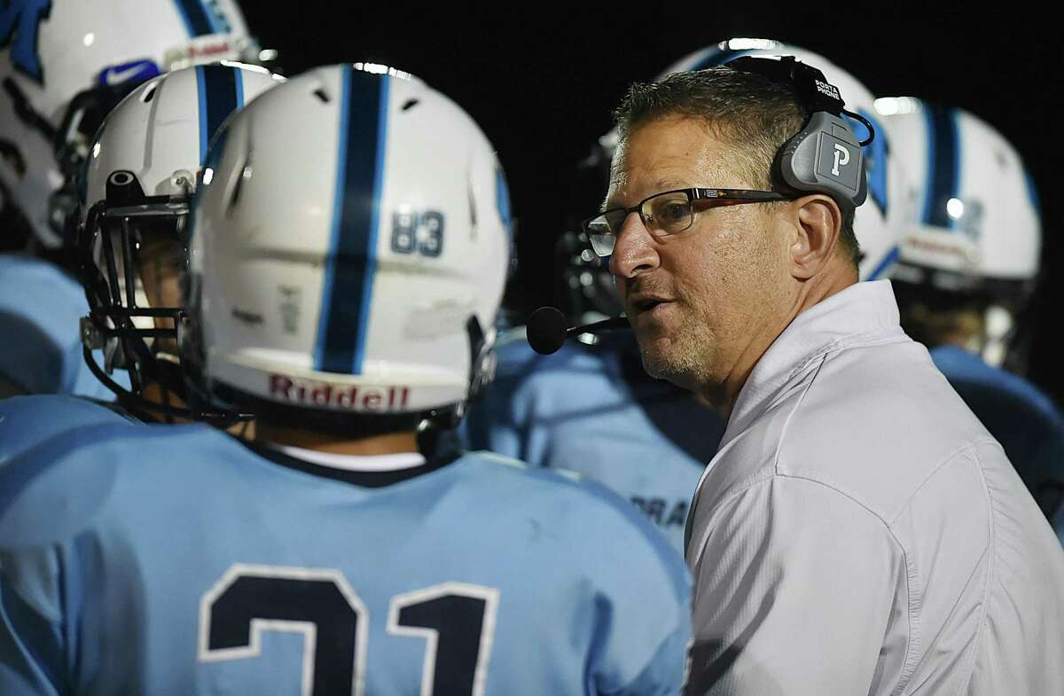 Middletown head coach Sal Morello in a timeout against Farmington in 2018 at Rosek-Skubel Stadium at Middletown High School.