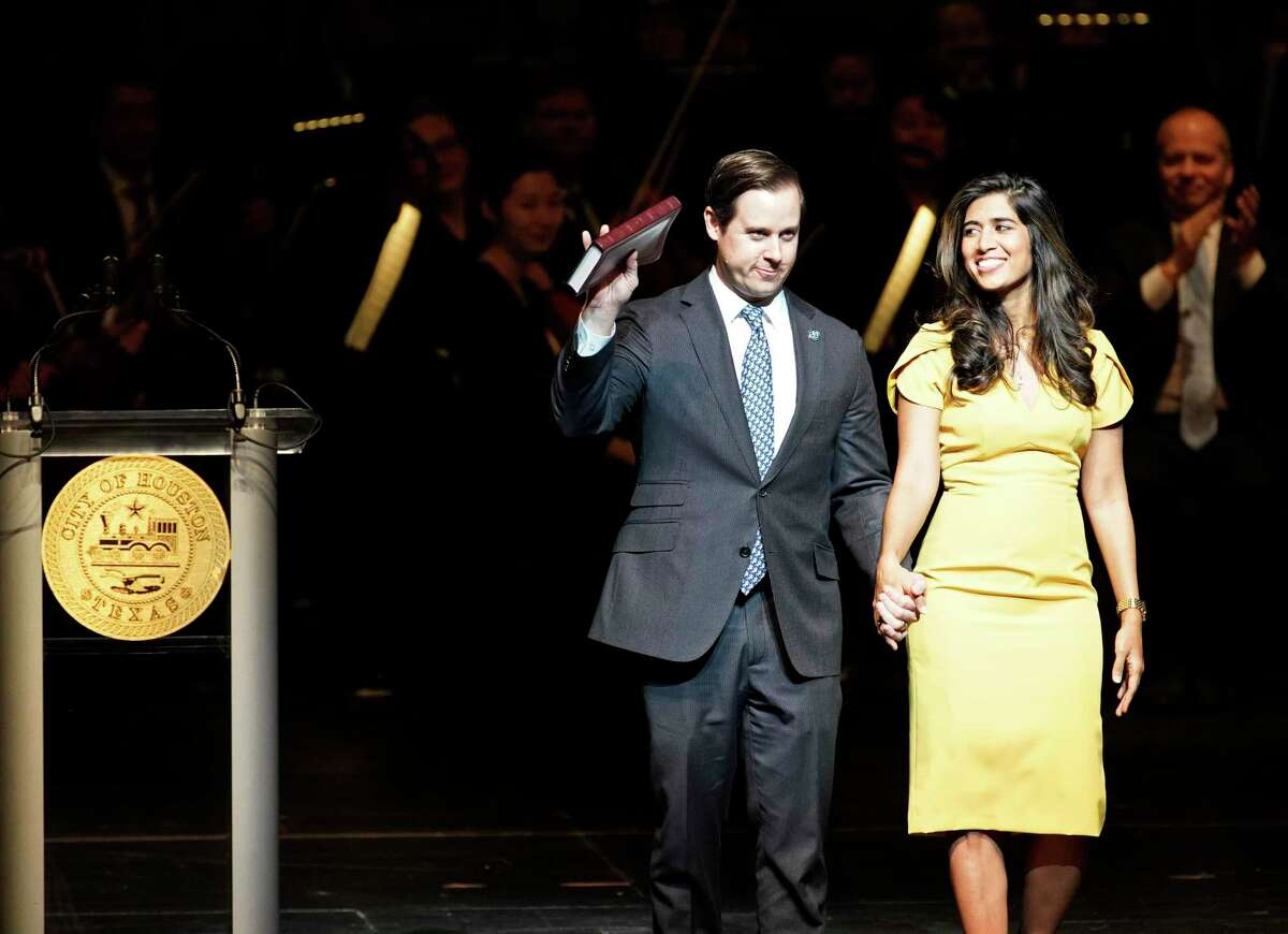 Houston City Controller Chris Brown and his wife, Divya Brown, during inaguration in January. Brown has been pushing for a broader financial transparency platform that Mayor Sylvester Turner blocked in April.