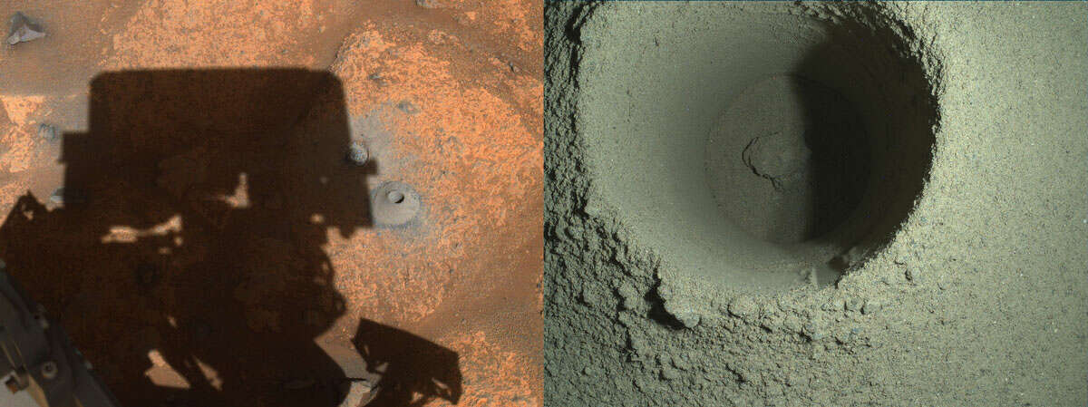 The drill hole from Perseverance's first sample-collection attempt can be seen, along with the shadow of the rover, in the left image taken by one of the rover's navigation cameras. The right image is a composite image of Perseverance's first borehole on Mars was generated using multiple images taken by the rover's WATSON imager.