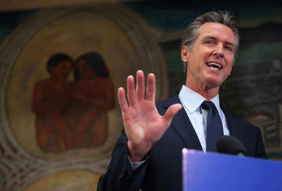 California Gov. Gavin Newsom speaks in May in Oakland. On Wednesday, the state Supreme Court rejected Republican legislators' challenge to his power to issue emergency orders during the pandemic.
