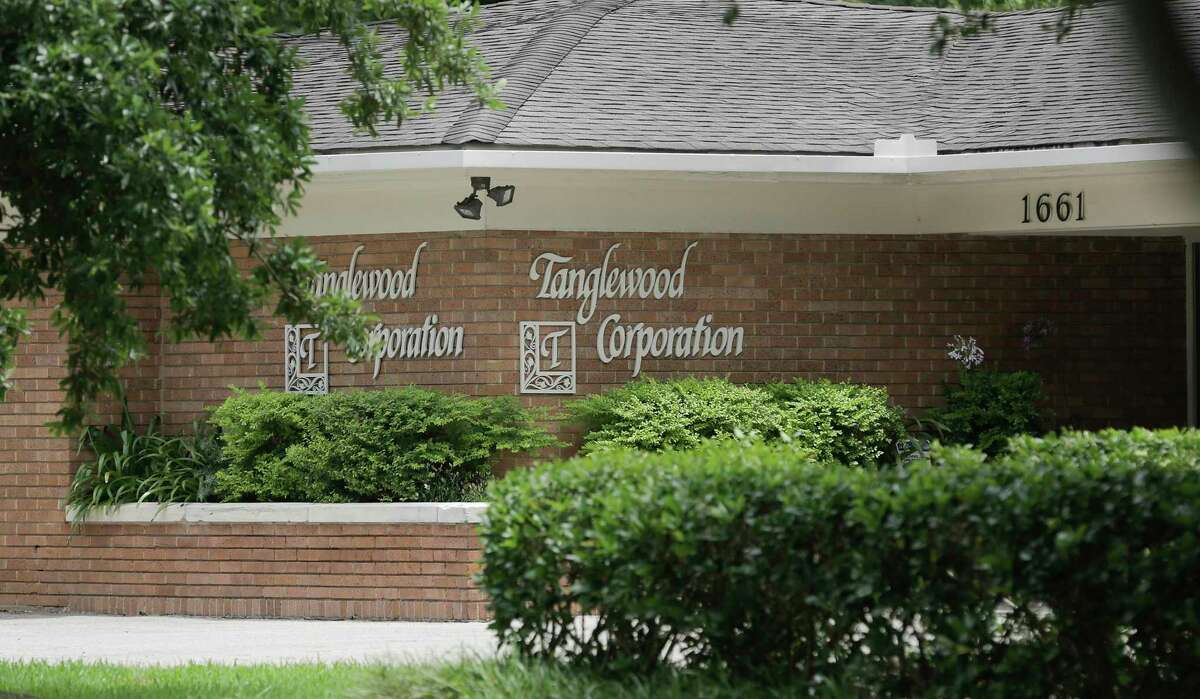 The Tanglewood Corporation building at the entrance of the Houston neighborhood on Tuesday, May 21, 2019. The Tanglewood residents are suing to keep a high-rise development out of their neighborhood.