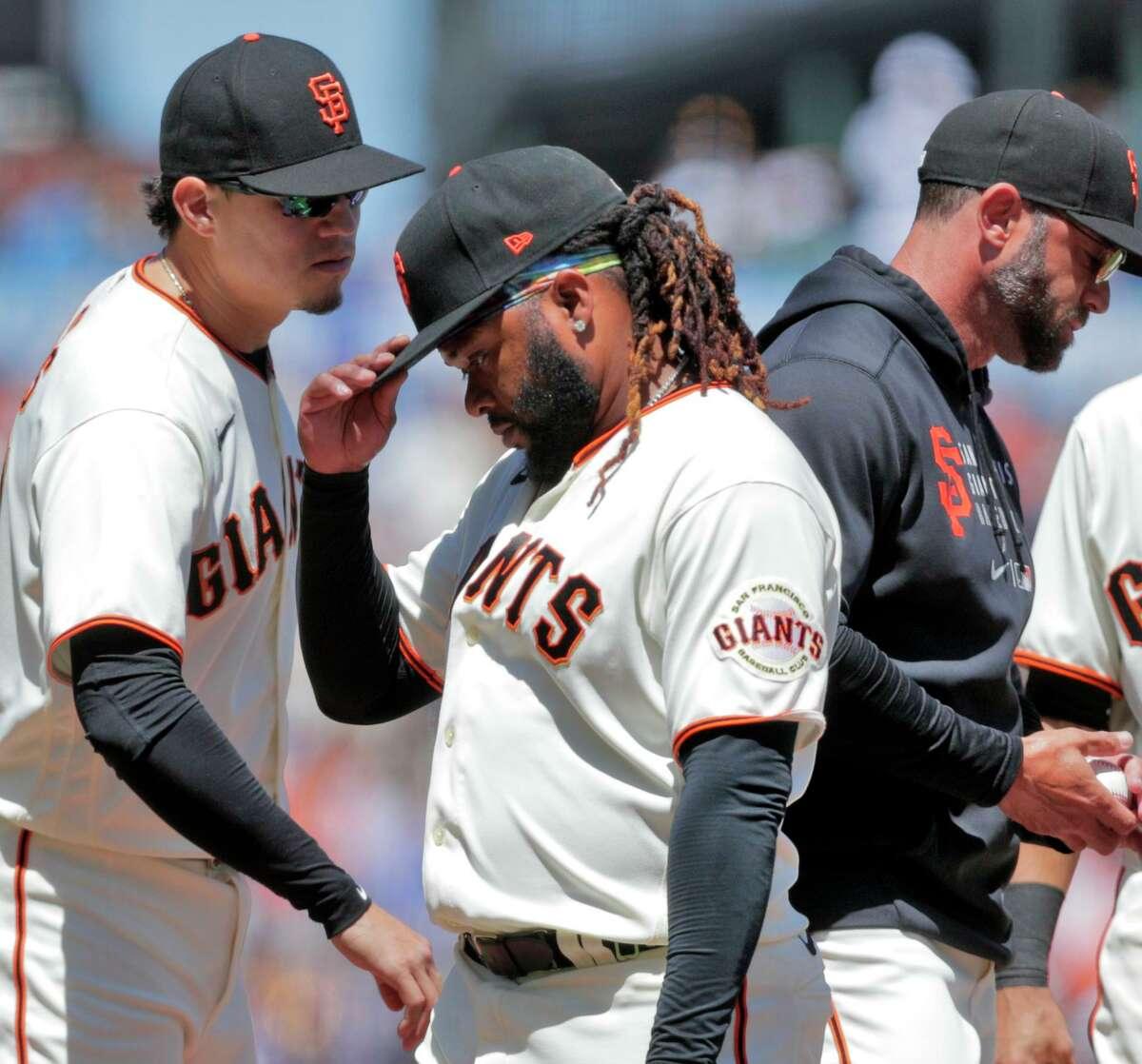Giants starter Johnny Cueto starter was placed on the 10-day injured list with a flexor strain and might miss one or two starts.