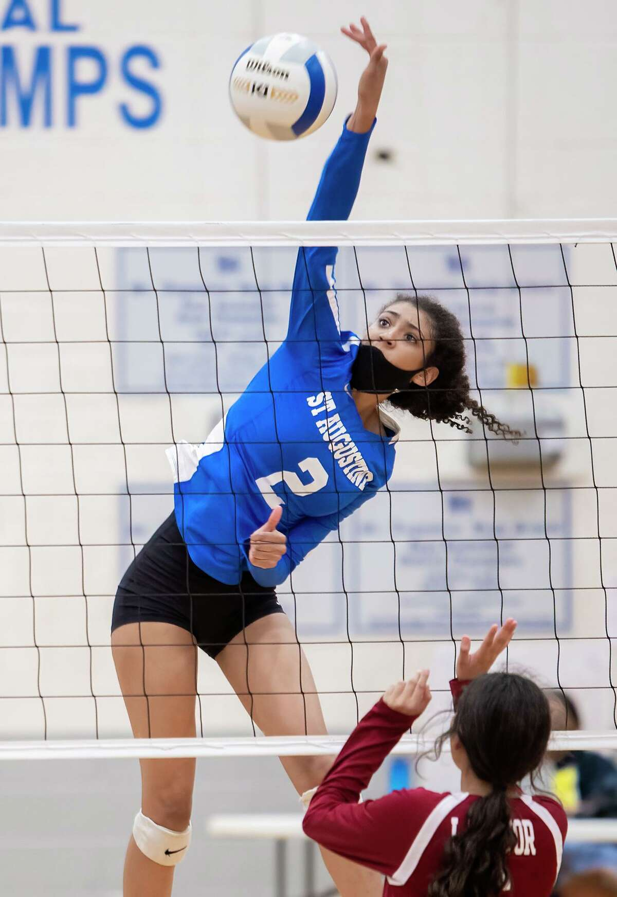 St. Augustine's Ary Ledet had a team-high 15 kills as the Lady Knights rolled 3-0 (25-5, 25-7, 25-15) at home over La Pryor in their season opener on Wednesday, Aug. 11, 2021.