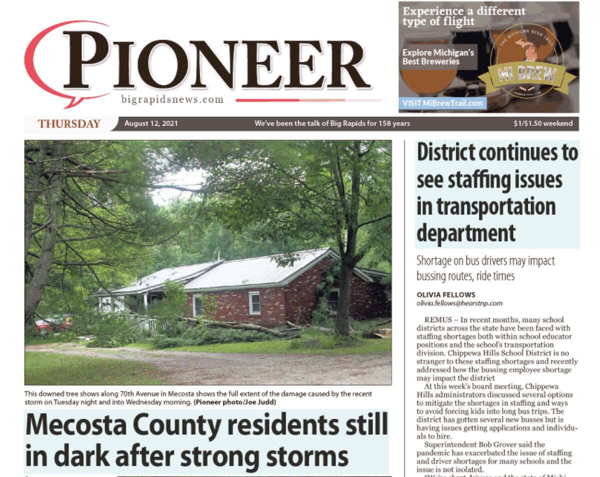 Because of a power outage at our printing facility in Big Rapids, there will be no printed edition of the Big Rapids Pioneer for Thursday, Aug. 12. The e-Edition is available.