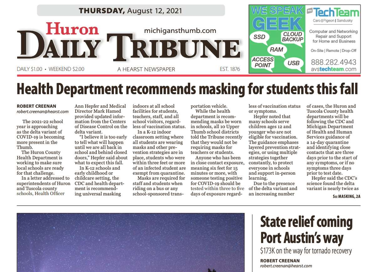 Because of a power outage at our printing facility in Big Rapids, there will be no printed edition of the Huron Daily Tribune for Thursday, Aug. 12. You can view a replica of the edition.