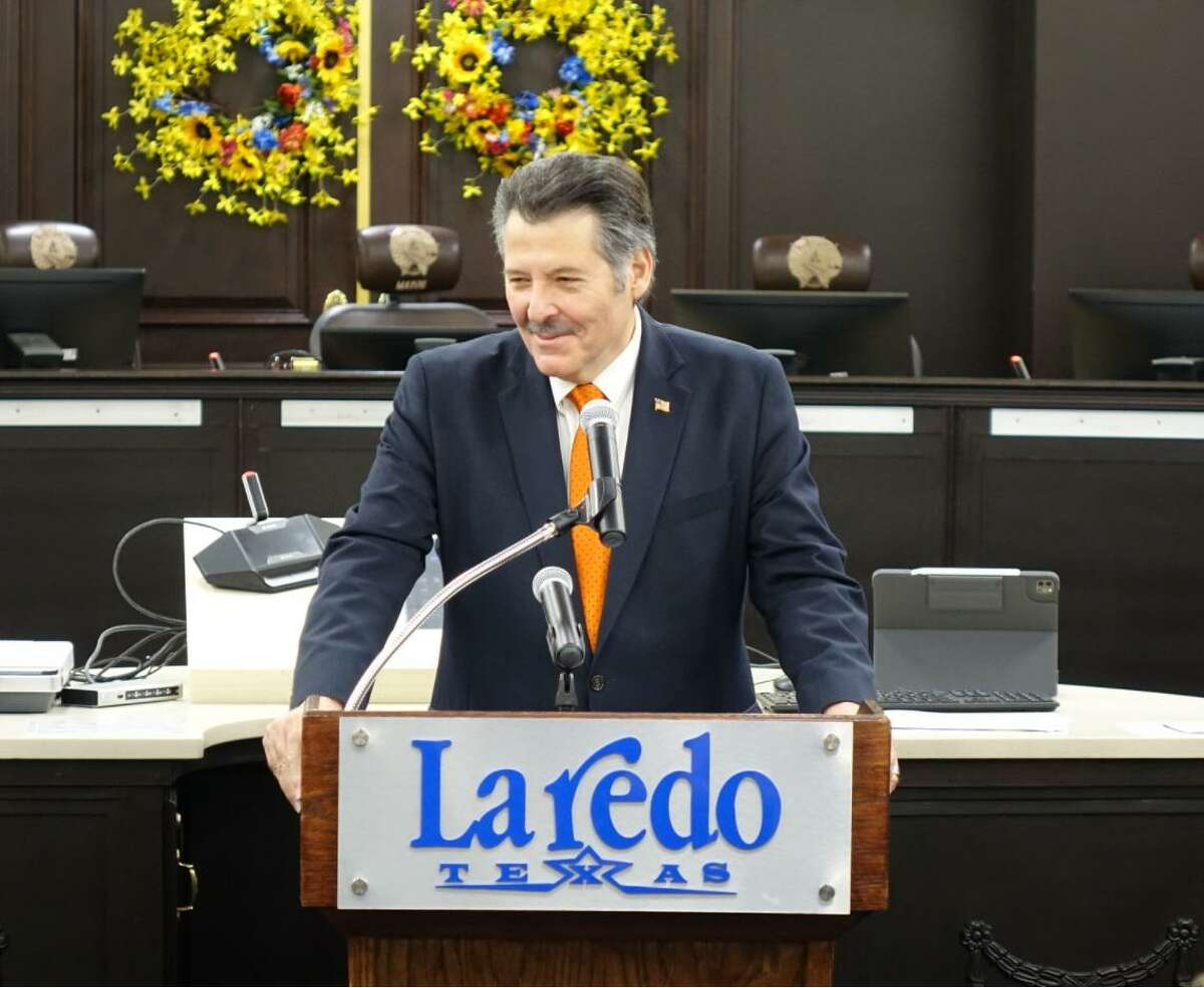 Laredo Mayor Pete Saenz speaks at on June 17. Saenz stated on Wednesday that he plans to ask DHS Secretary Alejandro Mayorkas on Thursday about the migrant influx locally as well as the possibility of reopening the borders to Mexico.