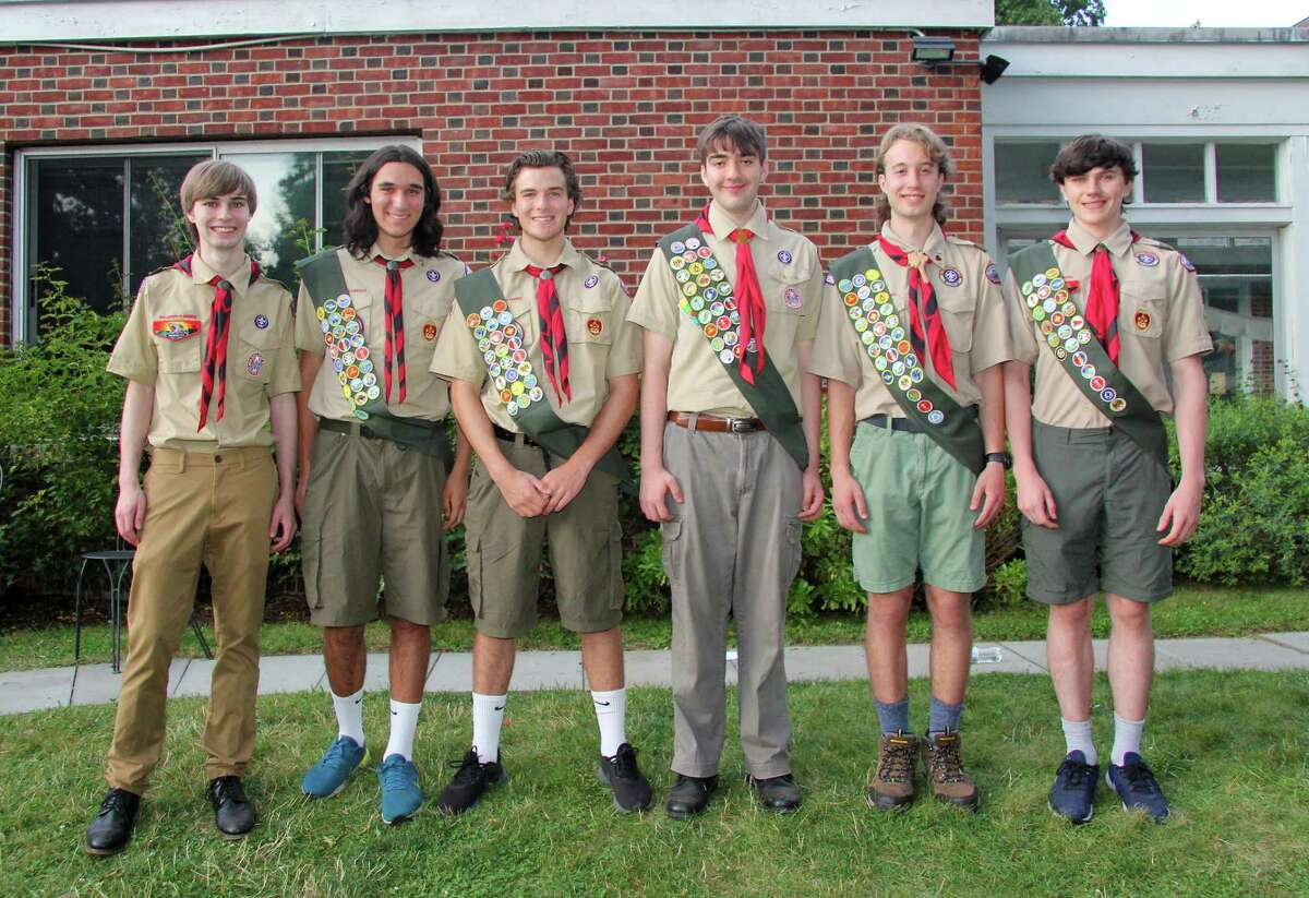 Troop 82 in Fairfield, Connecticut recently held an Eagle Scout Court of Honor at the First Church Congregational for Tyler Patrick Coughlan, Brian Michael Kinasewitz, Jason Mark Kinasewitz, Gary Todd Stewart, Owen Robert Weber and Ian Oliver Wilson.