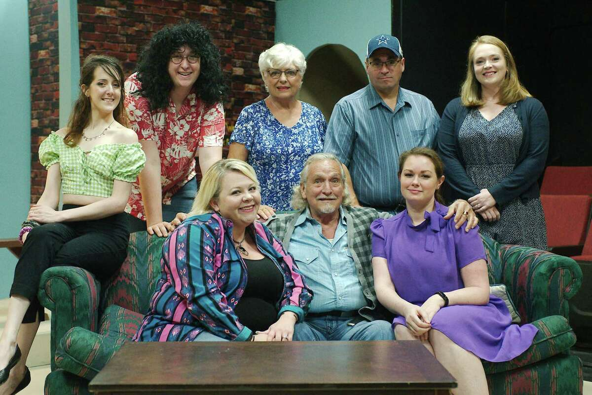 """The Pearl Theater cast of """"Daddy's Dyin': Who's Got the Will?"""" is set to perform a play that has been delayed for 18 months because of the pandemic. Cast members are: front from left, Cassie Wright, Steve Lassiter and Heather Atkins, back row, Hayley Beiermeister, Tad Eccles, Julie Owen, Jeff Merriman and Pasha Goodman."""