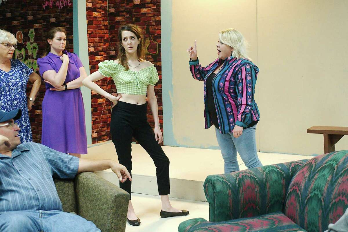 """Jeff Merriman, left, Julie Owen, Heather Atkins, Hayley Beiermeister and Cassie Wright rehearse a scene from """"Daddy's Dyin' Who's Got the Will?"""" Performances are planned for Aug. 27 through Sept. 12."""