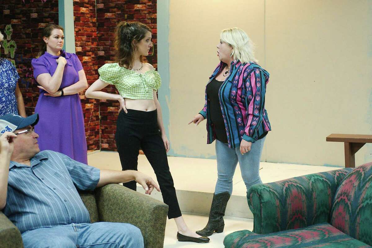 """Jeff Merriman, Julie Owen, Heather Atkins, Hayley Beiermeister and Cassie Wright rehearse a scene from """"Daddy's Dyin' Who's Got the Will?"""" at Pearl Theater."""