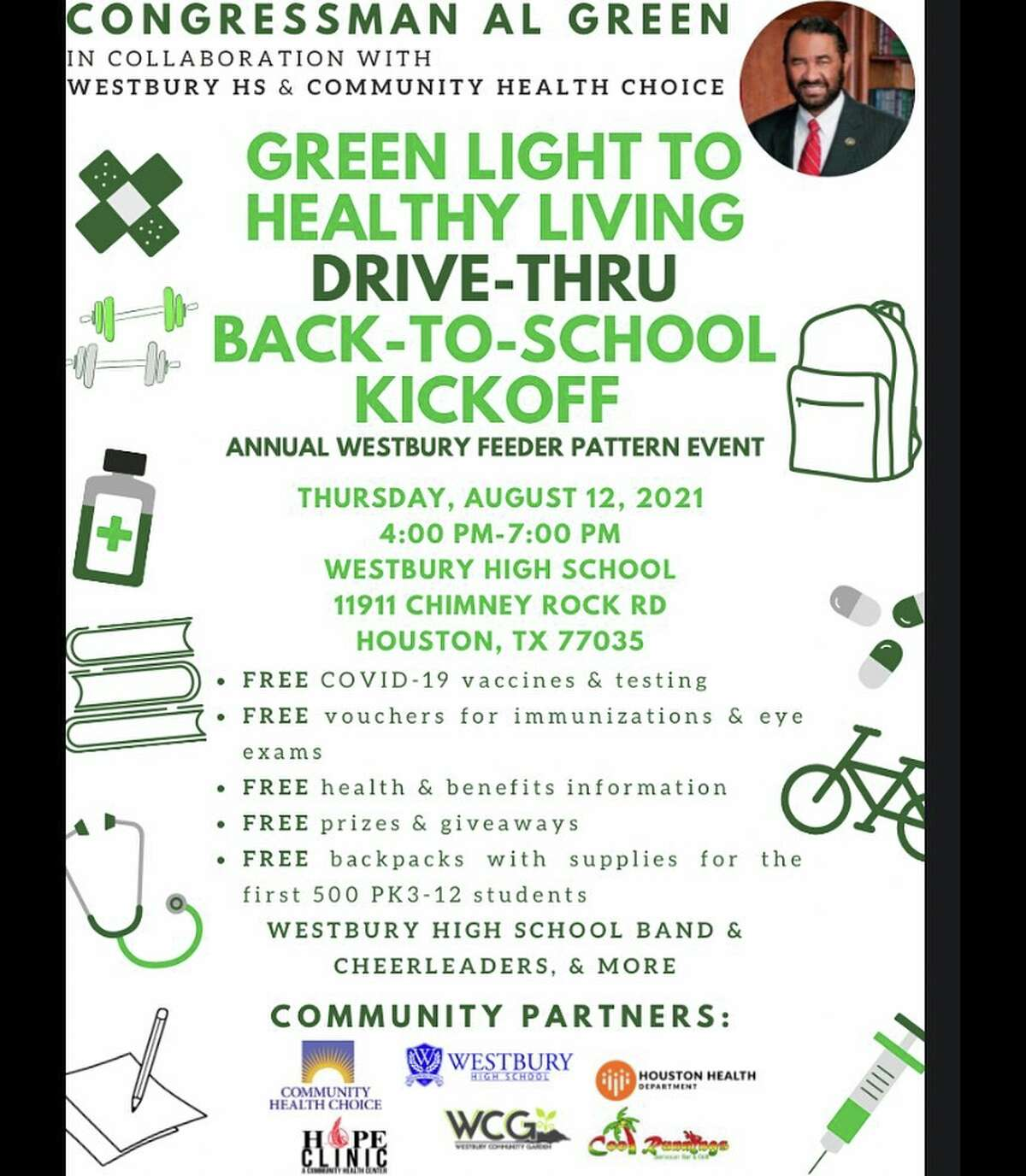 Rep. Al Green is hosting a back-to-school event with supplies and COVID-19 vaccines for children as they return to the classroom.