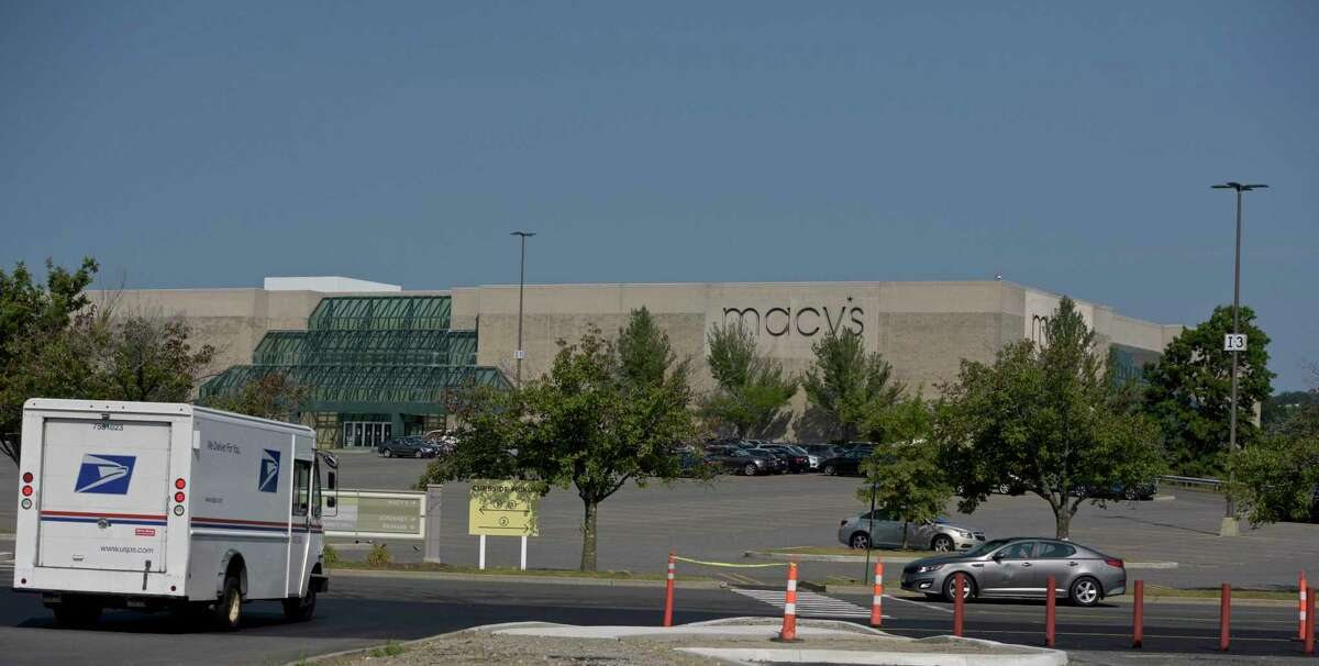 The Danbury Fair mall the morning after a shooting on Wednesday night that left a 16-year-old girl with a gunshot wound to the chest Thursday, August 12, 2021, Danbury, Conn.