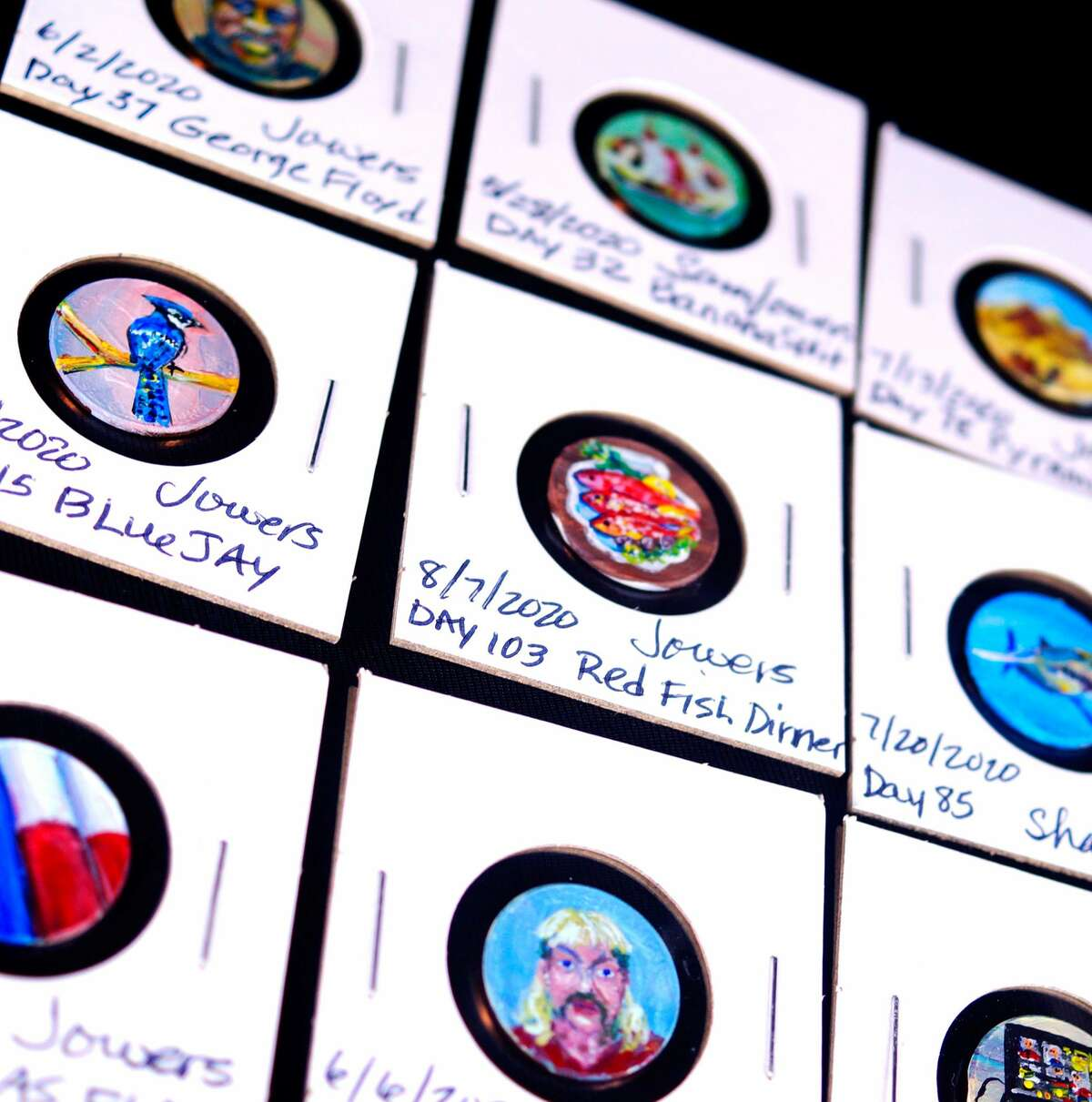 Pearland High School art teacher Sam Jowers' painted pennies are on display Aug. 23 through Sept. 5 at Alvin Community College. The pennies are part of a project she created to build community among her students during the COVID-19 pandemic. Learn more at https://bit.ly/3fSe9wW.
