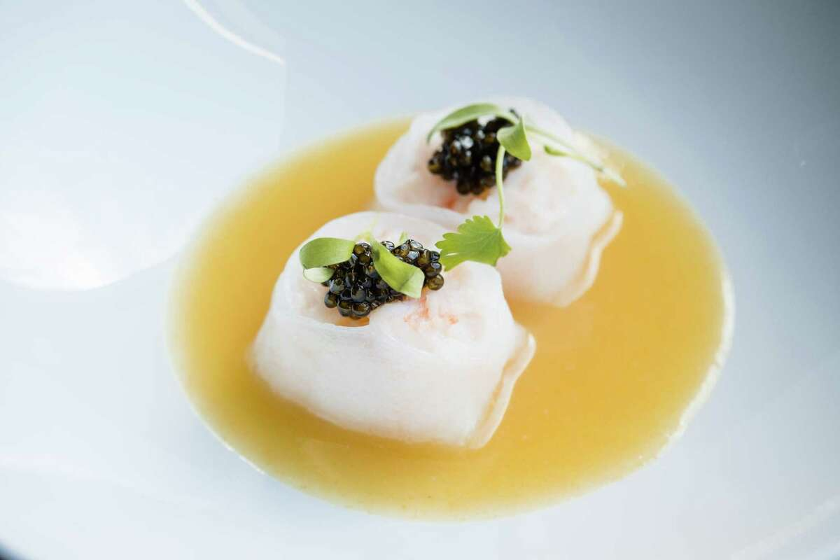 Steamed shrimp dumplings with caviar at Empress by Boon in S.F.