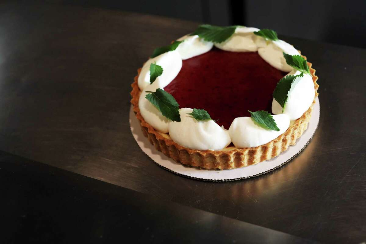 A sweet cheese tart with Chinese mint and plum puree from Melissa Chou's Grand Opening pop-up.