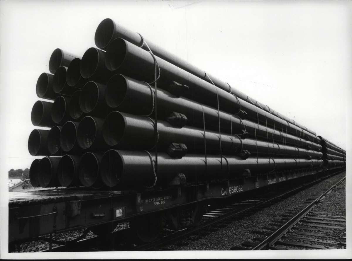 Pipeline sections from when the Iroquois gas line was being built in the 1990s. A new proposal for the pipeline would add compressors at three points: Athens, Dover, and Brookfield, Conn. The effort in Athens is drawing opposition from environmental groups and concern from the state Department of Environmental Conservation.