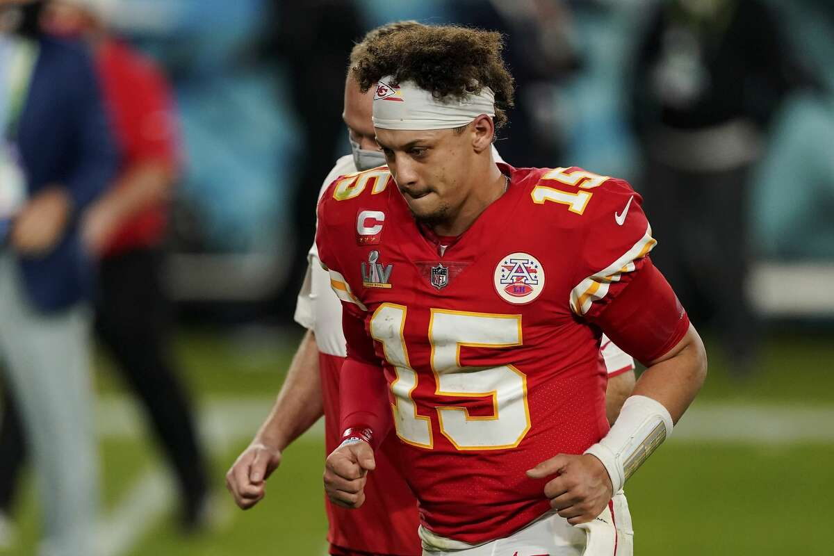 Kansas City Chiefs quarterback Patrick Mahomes runs off the field after the Super Bowl game against the Tampa Bay Buccaneers in February. The Texas native is helping to open 30 Whataburgers in Kansas and Missouri.