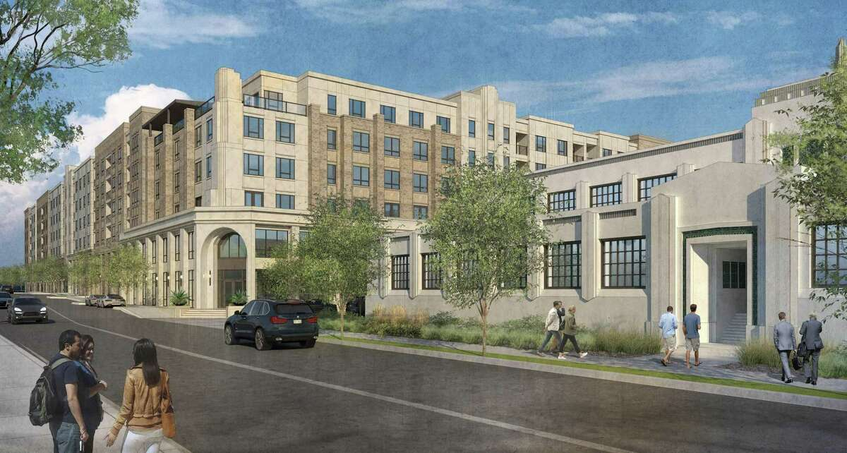 A rendering of the mixed-use development Embrey Partners and Area Real Estate are planning to build along East Ashby Place.