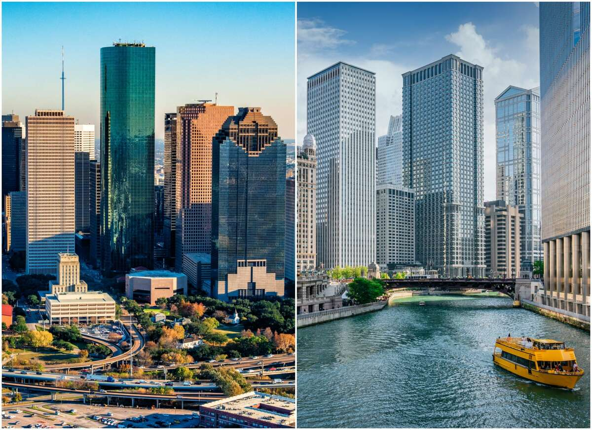 """""""Why have a beautiful river by your skyline (Chicago, right) when you can have a beautiful spaghetti of highways (Houston, left)."""""""
